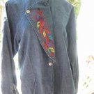 vintage 70s denim Embroidered Feather Blouse TOP boho Cowgirl S M