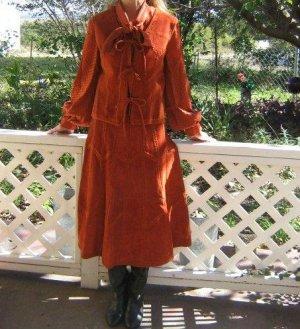 Vintage 3 pc Suede midi Skirt, Sweater Vest Suit Puffy Hippie Blouse Set
