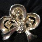 Darling Rhinestone Ribbon Pin Vintage silver tone Bow RS