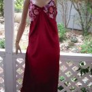 Wine and Roses Slippery Silky Satin vintage Nightgown  S M