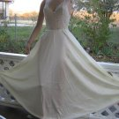 French Ivory Vintage Nightgown Lace Bodice L mega sweep