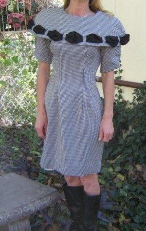 DARling Dolly vintage Dress Cutest large collar Check  XS 3 4