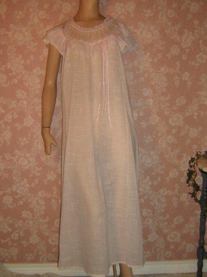 Precious Pink Cotton Batiste Nightgown Long Lacy Feminine