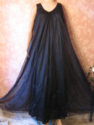 Vintage Intime Nightgown Black Chiffon Mega Sweep Free Bust