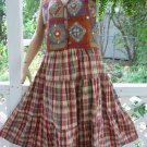 Vintage Plaid Skirt Hippie boho Tiered Midi Coral Cream Green pastels