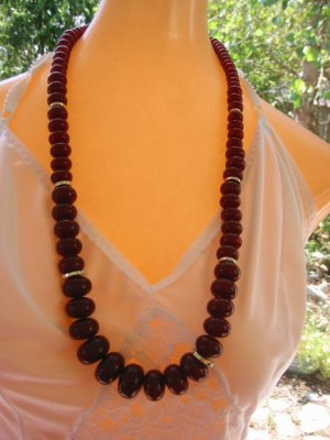 Vintage Necklace NWT 70s Acrylic Long  brown bead goldtone size beads