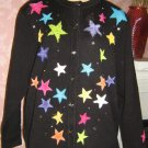 Ugly Sweater Vintage black cardigan Stars Beaded faux pearl L XL 1X