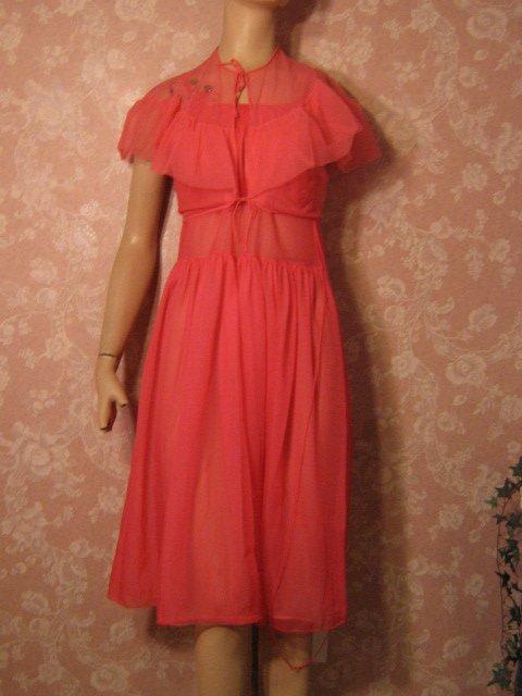 Kickernick Pink Vintage Nightgown Rhinestone Bedjacket Flutter Sleeve XS S