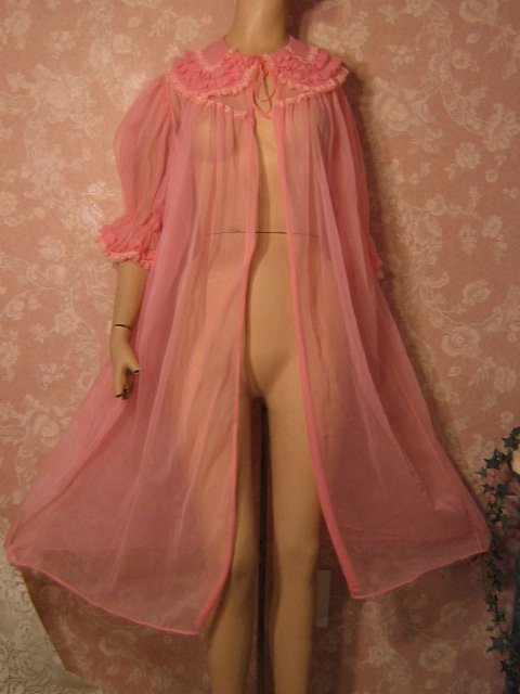 sold-Nan Flower vintage Sheer Chiffon Peignoir robe 50s frilly  pink
