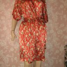 Barbizon Vintage Robe Short Knee length Wrap Fab Color Floral Satin