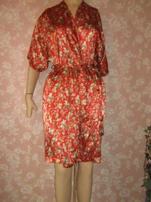 Barbizon Vintage Robe Short Knee length Wrap Fab Color Floral Satin