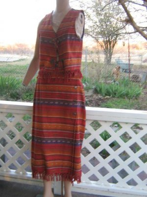 Roper Vest and Skirt Set Indian Blanket Concho Fringe XS S