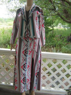 sold Skirt Jacket set Fringe Midi Pencil Skirt Pink Teal S XS Southwest Colors