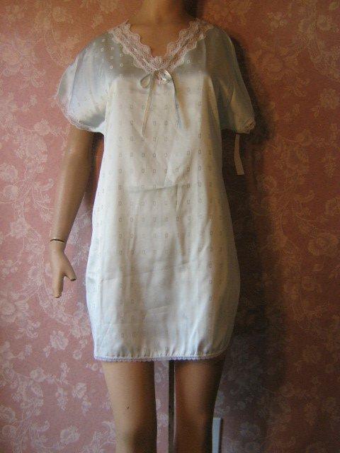 sold Avian Vintage Nightgown Babydoll aqua blue Satin Feminine Sexy NWT small