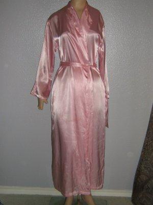 Jones N Y Vintage Robe Pink Satin Embroid Sleeves Wrap S M