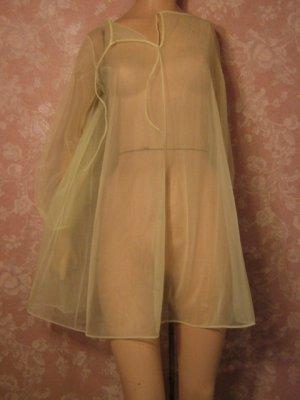Van Raalte Vintage Nightgown Lingerie Sheer Chiffon Yellow Petite XS S no lace