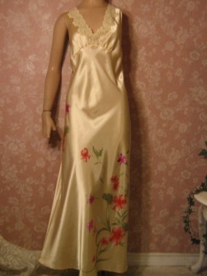 sold  Liquid Satin Nightgown Chiffon Peignoir Set L floral detail embroidery