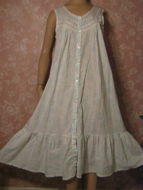 Sold Erika Taylor Vintage Cotton Nightgown Small Blue