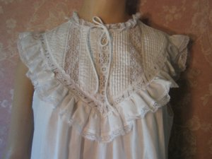 sold Pennys 70s Cotton Vintage Nightgown White Lace Pintuck Flutter Sleeve