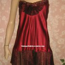 Victoria's Secret Vintage Babydoll Nightgown S All Silk Maroon Crystal Pleat