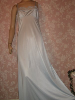 Baby Blue 70s Vintage Nightgown Simple Silky Lace Neckline S
