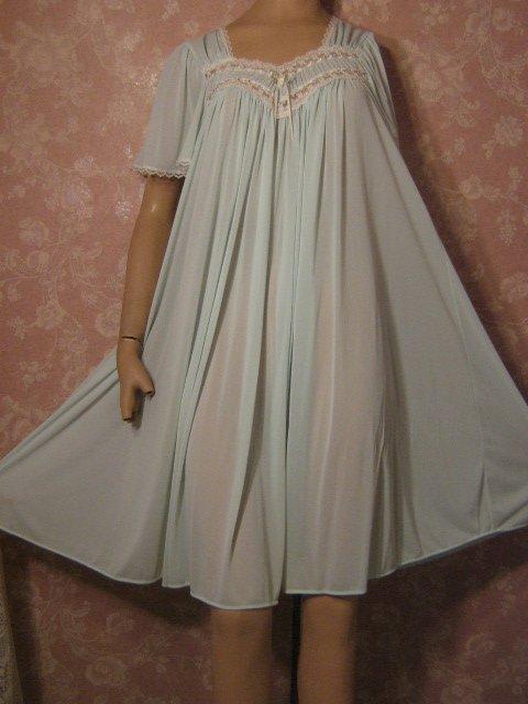 Miss Elaine Nightgown Vintage Silk Essence Aqua Blue Mega ...
