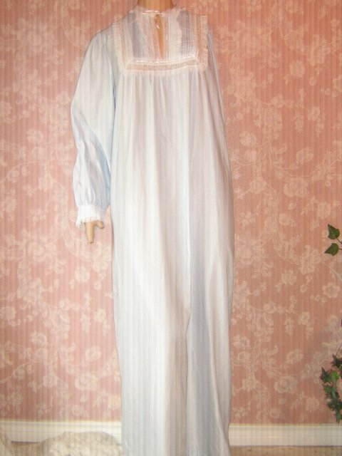 Vintage Barbizon Cuddleskin Nightgown 70s Blue Satin