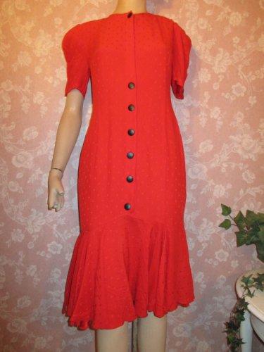 louis feraud Red Silk Vintage Dress Flared gored hemline puff sleeves silk dress mermaid hem