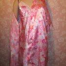 Secret Treasures Vintage Pink Satin Babydoll Chemise Nightgown Robe Set
