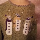 Vintage Ugly Sweater Winter Green Black tweed Crew Neck XL Snowmen Applique