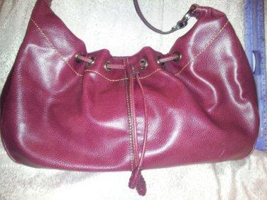 Liz Claiborne Purse  Oxblod Brown Leather Look Slouch Hippie Drawstring Vegan