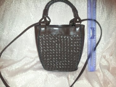 Coletta Purse vintage Basketweave Leather Purse Braided Handle Small Petite Brown handbag
