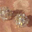 60s Vintage Clip Earrings Flower Rhinestone Mad Men unsigned Sparkle AB