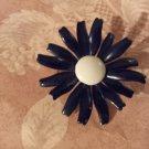 Vintage Flower Pin Brooch 60s Black Enamel white Center Mum Daisy Chunky no Stem