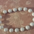 Vintage Monet Necklace White Beads gold white Spacers Signed chunky