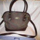 Liz Claiborne Paisley Print Vegan Brown Cotton Print Purse Shoulder strap Handbag