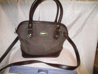 Liz Claiborne Paisley Print Vegan Brown Cotton Print Purse Shoulder strap Handbag