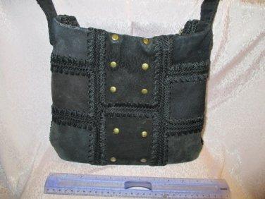 The Sak black Suede patchwork Stud Purse Shoulder boho hippie tote purse messanger bag