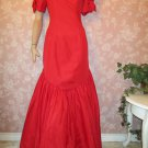 Vintage 80s Dress Ballgown Mermaid Hem Puff Sleeves Long Formal Red size 6 8