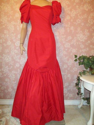 Vintage 80s Dress Ballgown Mermaid Hem Puff Sleeves Long Formal Red size 6 8