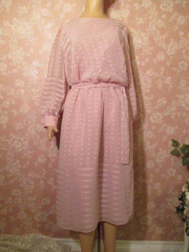 Vintage Dress Chiffon Lilac size 16 Sheer Puff Long Sleeve MOB