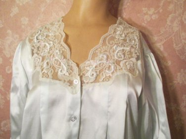 Sara Beth Vintage Nightgown Satin Flannel Back Cuddleskin Long M L