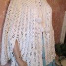 70s Cape Poncho hipster Capelet Shawl White Crochet Pom Poms  One Size