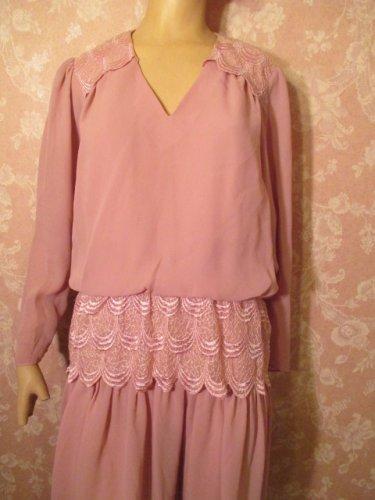 Vintage Dress Mauve pink M L Lace Peplum Crepe Midi Tea Length M L mother of bride MOB