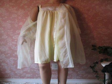 Movie Star Vintage Nightgown Peignoir Set Yellow M L Sheer Chiffon