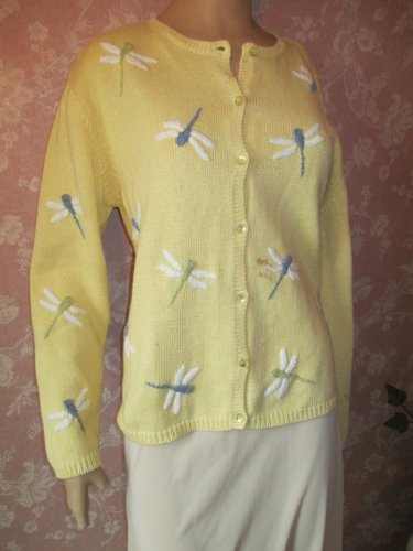Vintage Cardigan Sweater Embroidered Dragonfly Yellow L Dragonflies