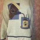 Vintage Sweater Pullover Rolled Neck Coffee Pot Cup of Coffee M L