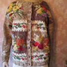 vintage cardigan sweater heavily embroidered fruit flowers ugly sweater Small Medium