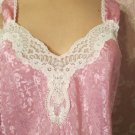 Lucie Ann Vintage Nightgown Pink Satin Brocade Lacy S M Tea length  Column Gown
