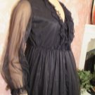 Vintage Black Ruffle Nightgown Sheer Chiffon Peignoir S M Lacy Salsa Flamenco